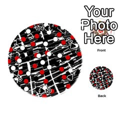Red and white dots Playing Cards 54 (Round)