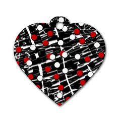 Red and white dots Dog Tag Heart (Two Sides)