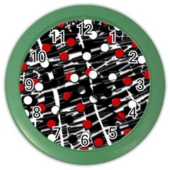 Red and white dots Color Wall Clocks