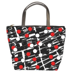 Red and white dots Bucket Bags