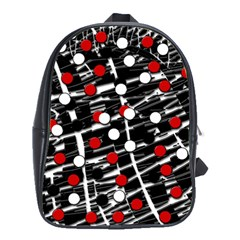 Red and white dots School Bags(Large)