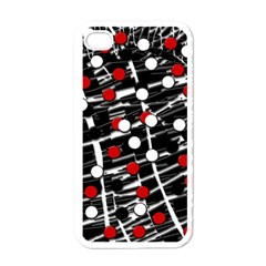 Red and white dots Apple iPhone 4 Case (White)