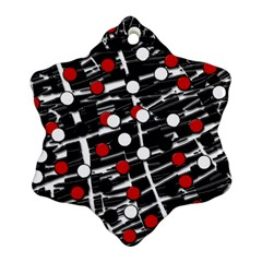 Red and white dots Snowflake Ornament (2-Side)