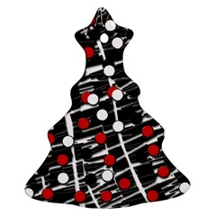 Red and white dots Christmas Tree Ornament (2 Sides)