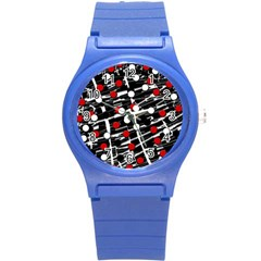 Red and white dots Round Plastic Sport Watch (S)