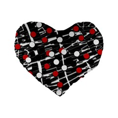 Red and white dots Standard 16  Premium Heart Shape Cushions