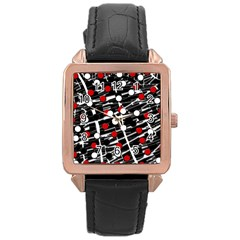 Red and white dots Rose Gold Leather Watch