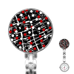 Red and white dots Stainless Steel Nurses Watch
