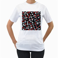 Red and white dots Women s T-Shirt (White)