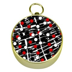 Red and white dots Gold Compasses