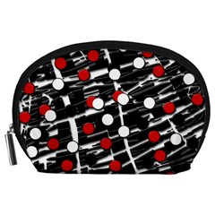 Red and white dots Accessory Pouches (Large)