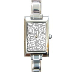 Gray and white floral pattern Rectangle Italian Charm Watch