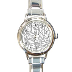 Gray and white floral pattern Round Italian Charm Watch