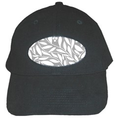 Gray and white floral pattern Black Cap