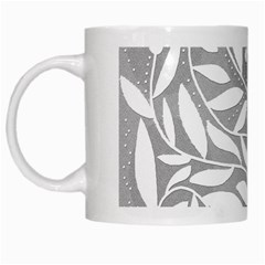 Gray and white floral pattern White Mugs