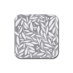 Gray and white floral pattern Rubber Coaster (Square)