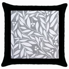 Gray and white floral pattern Throw Pillow Case (Black)
