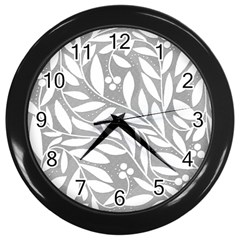 Gray and white floral pattern Wall Clocks (Black)