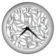 Gray and white floral pattern Wall Clocks (Silver)