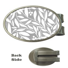 Gray And White Floral Pattern Money Clips (oval)