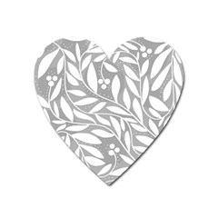 Gray and white floral pattern Heart Magnet