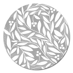 Gray and white floral pattern Magnet 5  (Round)