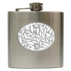 Gray and white floral pattern Hip Flask (6 oz)