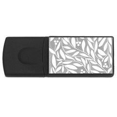 Gray and white floral pattern USB Flash Drive Rectangular (2 GB)