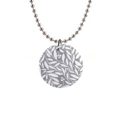 Gray and white floral pattern Button Necklaces