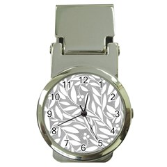 Gray and white floral pattern Money Clip Watches