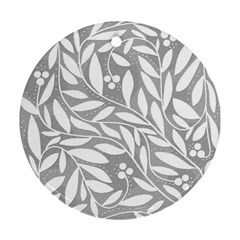 Gray and white floral pattern Round Ornament (Two Sides)