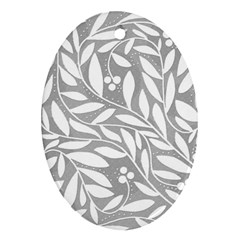 Gray and white floral pattern Oval Ornament (Two Sides)