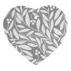 Gray and white floral pattern Heart Ornament (2 Sides)