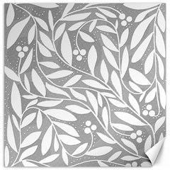 Gray and white floral pattern Canvas 12  x 12