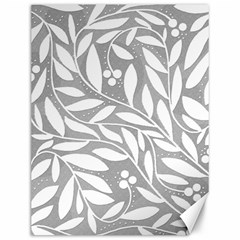 Gray and white floral pattern Canvas 12  x 16