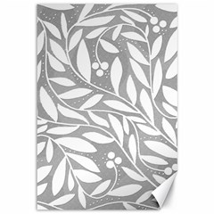 Gray and white floral pattern Canvas 12  x 18
