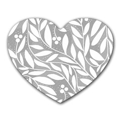 Gray and white floral pattern Heart Mousepads