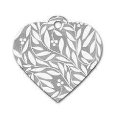 Gray and white floral pattern Dog Tag Heart (One Side)