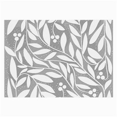 Gray and white floral pattern Large Glasses Cloth (2-Side)