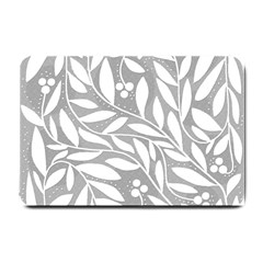 Gray and white floral pattern Small Doormat