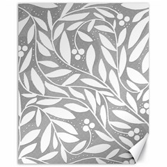 Gray and white floral pattern Canvas 11  x 14