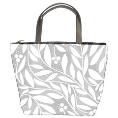 Gray and white floral pattern Bucket Bags