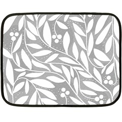 Gray and white floral pattern Fleece Blanket (Mini)