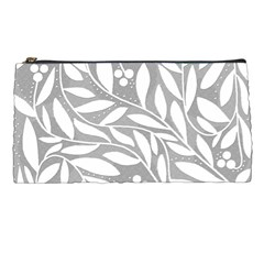 Gray and white floral pattern Pencil Cases
