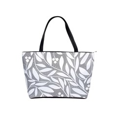 Gray and white floral pattern Shoulder Handbags