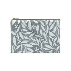 Gray and white floral pattern Cosmetic Bag (Medium)