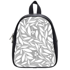 Gray and white floral pattern School Bags (Small)