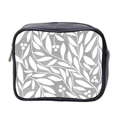 Gray and white floral pattern Mini Toiletries Bag 2-Side
