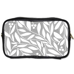Gray and white floral pattern Toiletries Bags