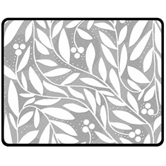 Gray and white floral pattern Fleece Blanket (Medium)